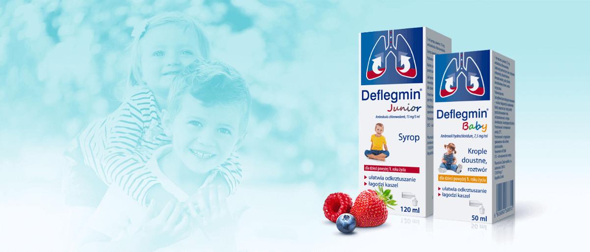 Leki Deflegmin - syrop dla dzieci oraz krople ułatwiają odkrztuszanie oraz łagodzą kaszel u dzieci