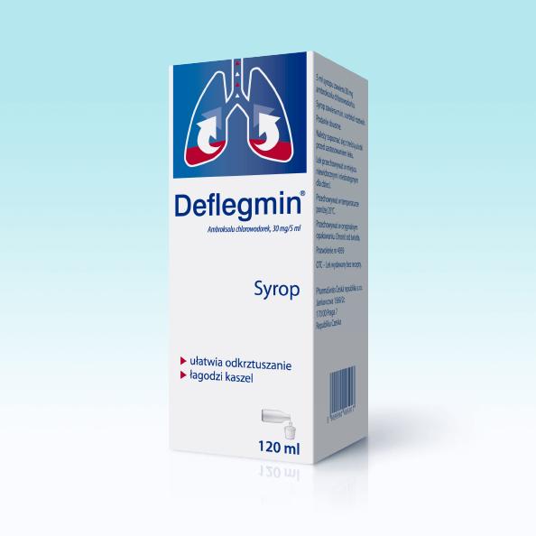 Syrop na kaszel mokry Deflegmin dla dorosłych i dzieci. Ułatwia odkrztuszanie i łagodzi kaszel w chorobach płuc i oskrzeli. Opakowanie 120 ml